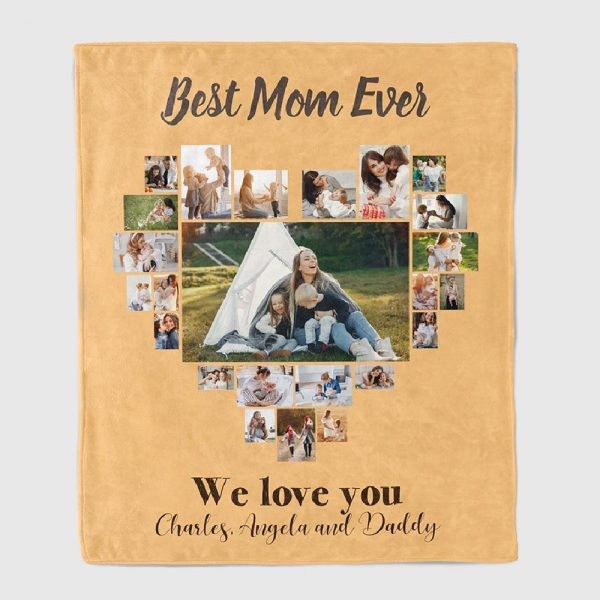 gift for mom: best mom ever photo collage throw blanket