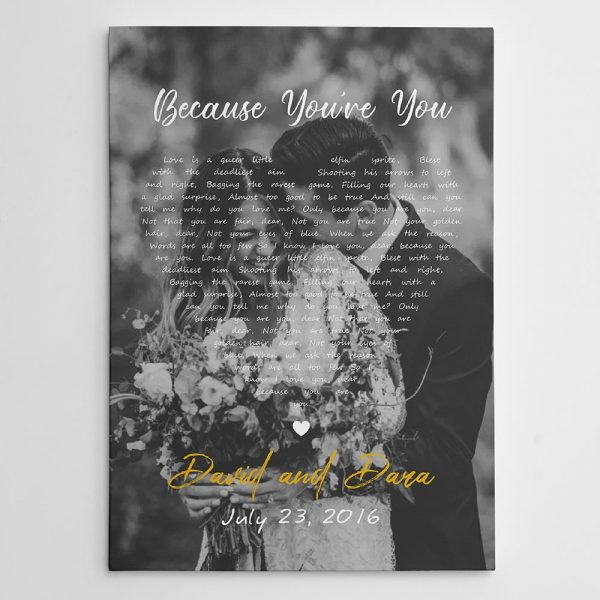 Black and White Song Lyrics on Photo Canvas Print - gifts for couples