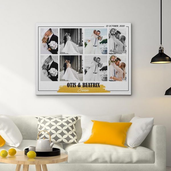 Wedding Photo Collage Canvas Print With Couple Names And wedding day