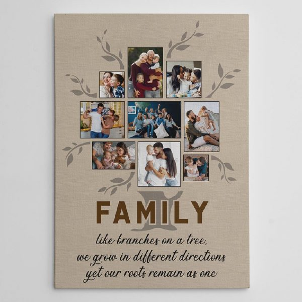 The family like branches on a tree photo collage canvas print used as a form of wall art