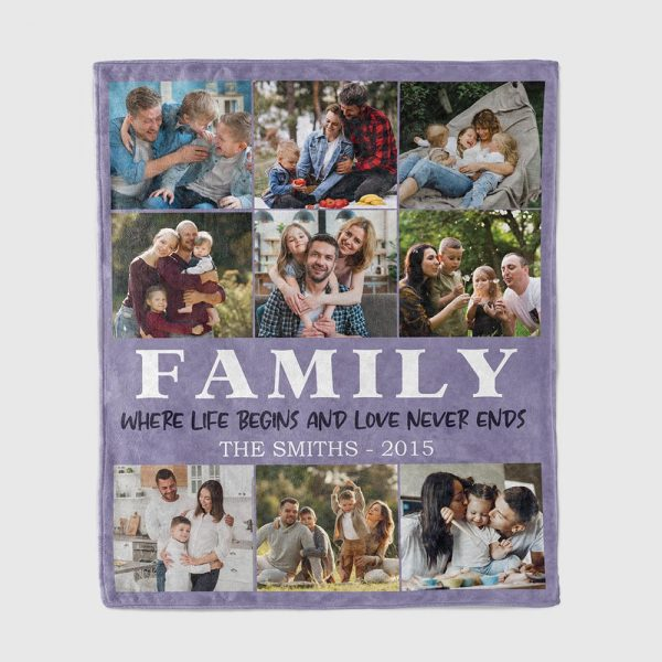Family Where Life Begins And Love Never Ends Custom Photo Collage Blanket