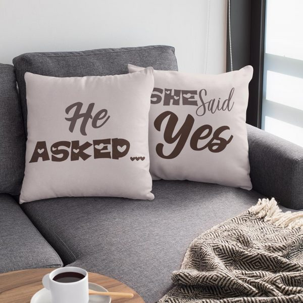 He Aksed She Said Yes Suede Pillow
