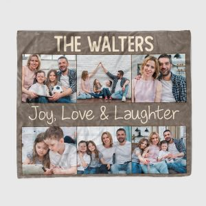 joy, love, and laughter custom photo collage blanket