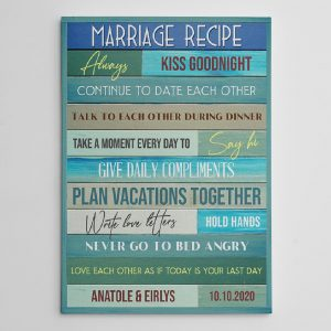 Marriage Recipe Custom Canvas Print - wedding gift idea