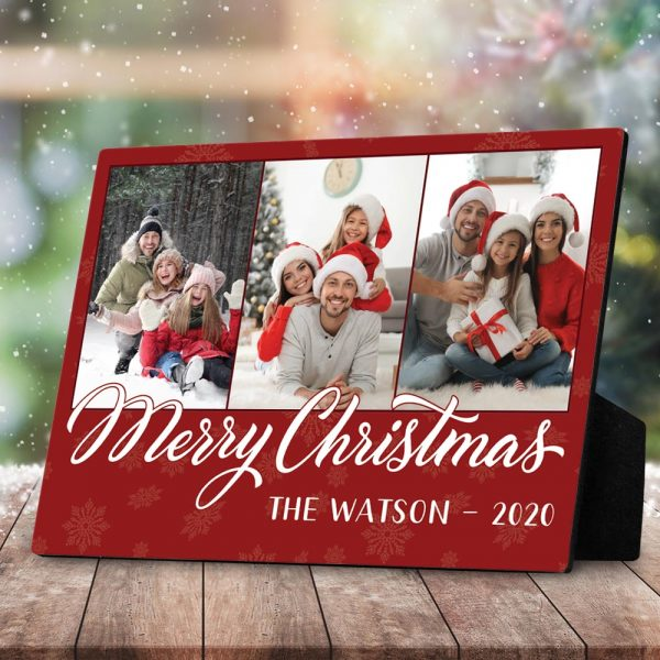 Merry Christmas Family Photo Desktop Plaque
