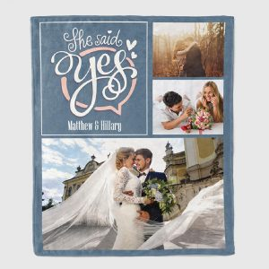 She Said Yes Custom Photo Blanket
