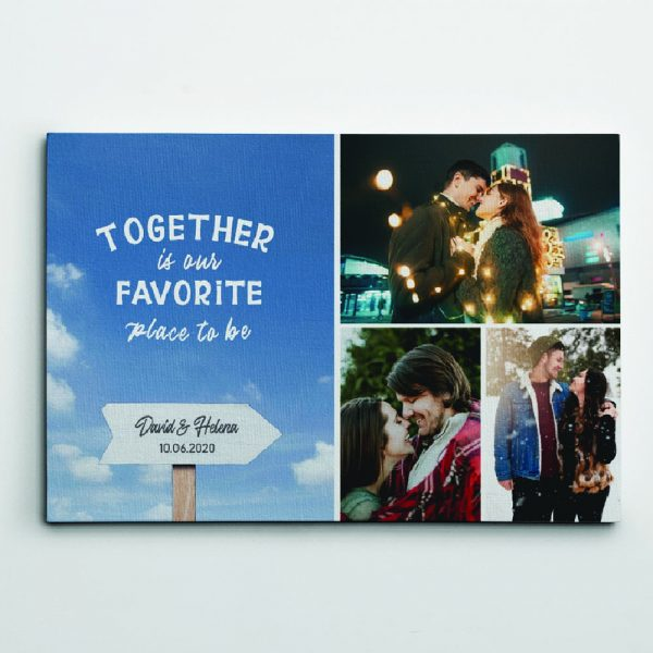 together is our favorite place to be custom collage canvas print
