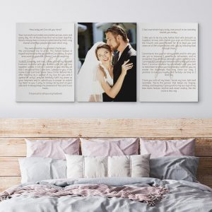 His And Hers Wedding Vows Custom Canvas Print With The Wedding Photo Canvas Print In The Middle