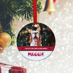 You Left Paw Prints In Our Hearts Custom Pet Lover Ornament