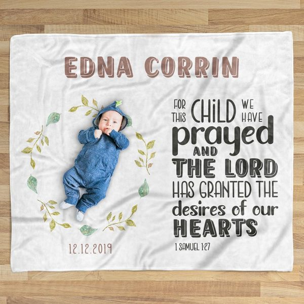 For This Child I Have Prayed Custom Name Blanket