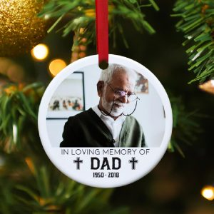 In loving memory of dad custom photo ornament