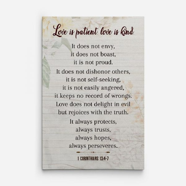 love is patient love is kind canvas sign