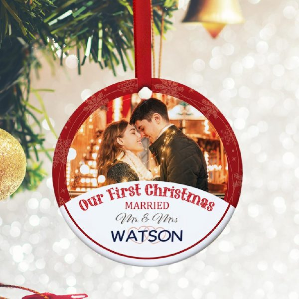 First Christmas Married Photo Ornament - gift for newlyweds