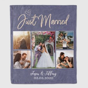 Just Married Custom Photo Blanket