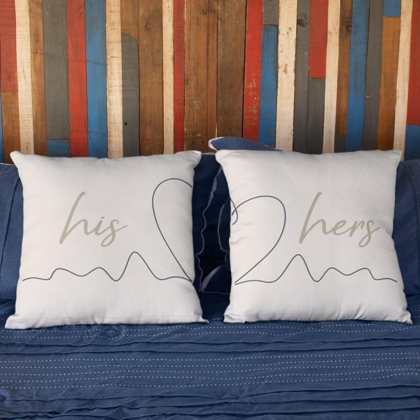 His Heart Her Couple Suede - Pillow