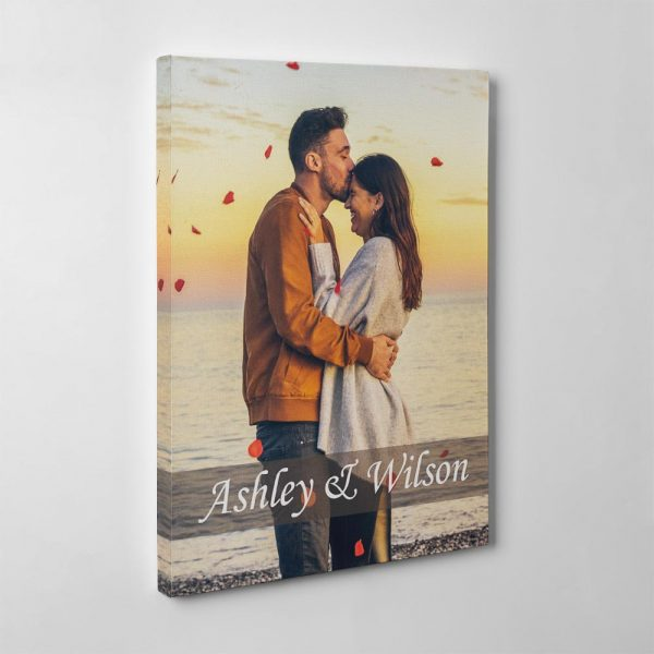 couple photo canvas print with custom couple's names