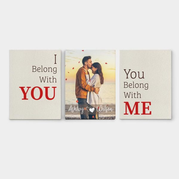 I Belong With You, You Belong With Me Split Canvas Prints - Set of 3 canvas