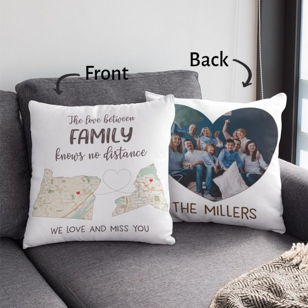 The love between family knows no distance custom map photo pillow 02
