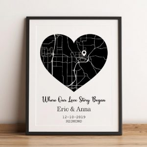 Where Our Love Story Began Black And White Map Framed Print