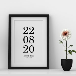Custom Date And Name Framed Print
