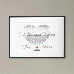 Heart-Shaped Song Lyrics Frame Print
