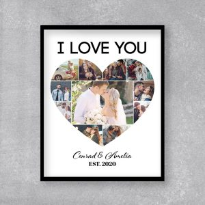 I Love You Heart Photo Collage Frame Print