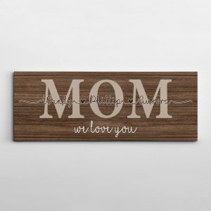 Mom we love you custom canvas print with children's names