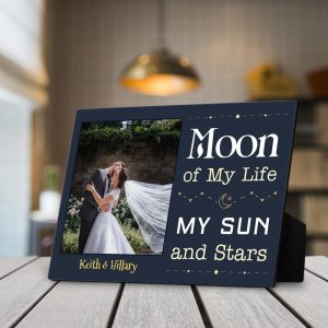 Moon of my life my sun and stars custom photo desktop plaque