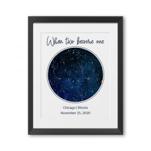 When Two Become One Custom Star Map Print