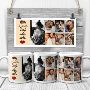 "Let your wife know how much you treasure her with the ""Best Wife Ever"" custom photo mug. Personalize it with your favorite photos to make it truly hers!"