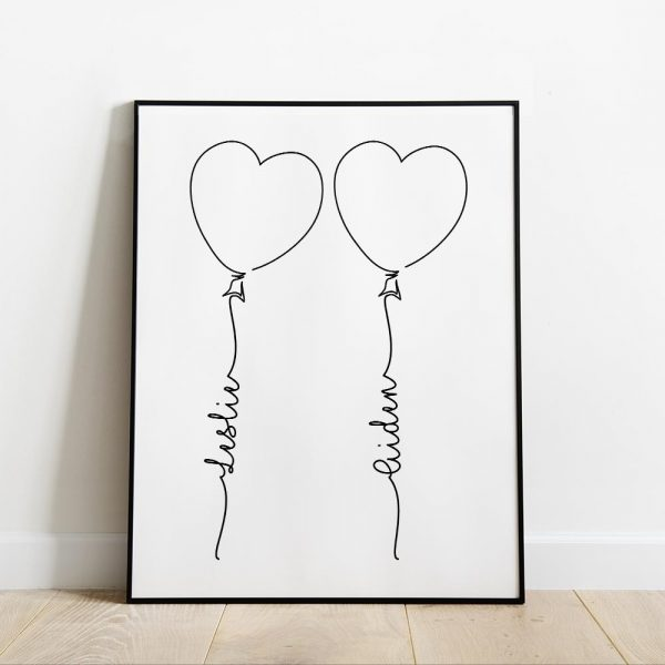Personalized Couple's Name Art Print - balloon art print