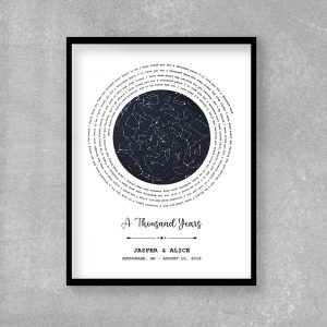 Custom Star Map And Spiral Song Lyrics canvas print