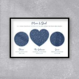 Let These Stars Bear Witness To The Love Spoken Between Our Hearts Custom Star Map Framed Print