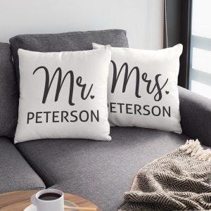 Mr And Mrs Custom Name Suede Pillow
