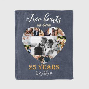 Two Hearts As One Photo Collage 25th Anniversary - Blanket